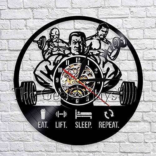 wtnhz LED-Training bodybuilder silhouette 3D wall clock eating life sleep repeating vinyl clock wall clock art deco fitness club