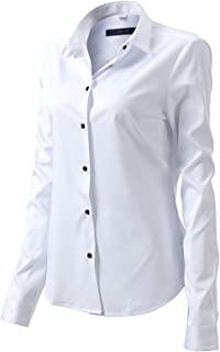 FLY HAWK Womens Button Down Shirts Slim Fit Dress Shirts Basic Long Sleeve Bamboo Fiber Formal Casual Shirts Blouses