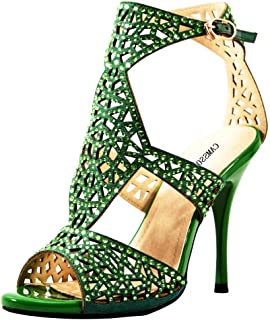 8358c25ae7fa3 Amazon.com: Green - Heeled Sandals / Sandals: Clothing, Shoes & Jewelry