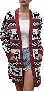 QIQIU Womens Christmas Casual Open Front Elk Print Buttons Warm Loose Long Sleeve Fashion Outwear Overcoat Coats Tops