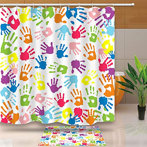 NEWTOO Watercolor Shower Curtain, Handprint in Rainbow Color Bathroom Curtain for Kids, Waterproof Fabric with Hooks, LYNT128-72