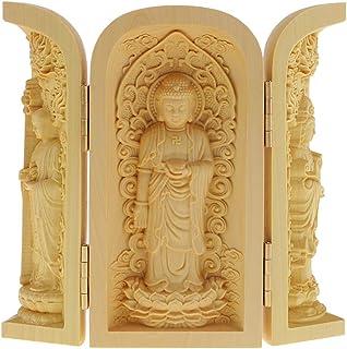 Baoblaze Estatua de Buda Tallado a Mano Armario Caja Escultura Artesanías de Madera de Boj - Estilo-4