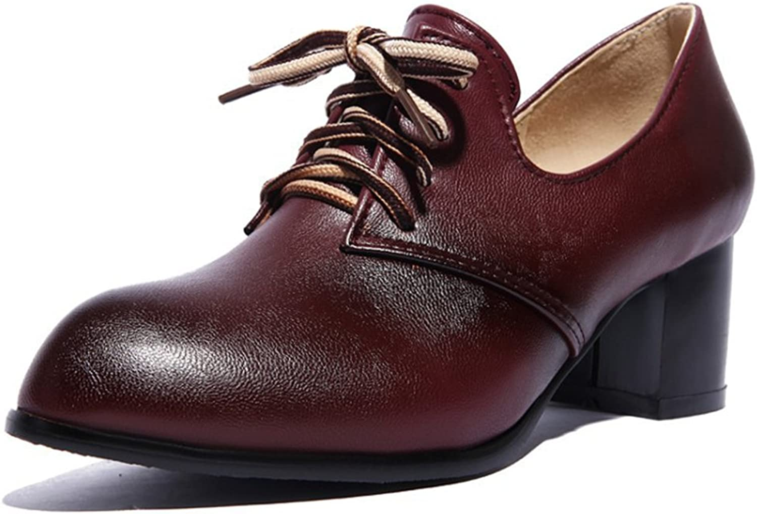 IDIFU Women's Classic Lace Up Mid Chunky Heels Pointed Toe Low Top Office Pumps shoes