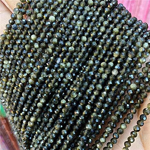 Cuentas De Piedra Natural Facetadas Sección Pequeña 2 3 4 Mm Cuarzo Amatistas Amazonita Perlas Pequeñas Sueltas para Pulseras Collar Pendientes DIY-Gold Obsidiana, 4 Mm