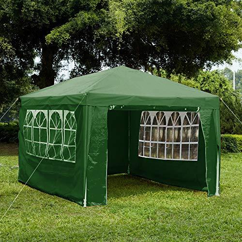 Gazebo da giardino Vida con pannelli laterali, con cerniera e barra antivento, Verde, 3 x 4 m