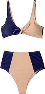 CUPSHE Women's Lost in The Dream High-Waisted Bikini Set Beach Swimwear Bathing Suit
