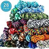 28 Colores 10 Pies Cuerdas de Paracord 550 Cordón de Paracord Multifunción Cuerda de Pulsera de Paracord Kit de Cuerda de Manualidades para Cordones, Llavero, Collar de Perro, DIY, Color Sólido