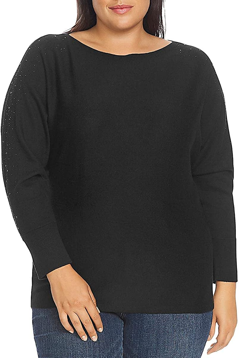 Vince Camuto Womens Plus Embellished Long Sleeves Pullover Sweater Black 1X