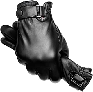 Mens Black Leather Motorcycle Driving Gloves Winter with Touch Screen Fingers