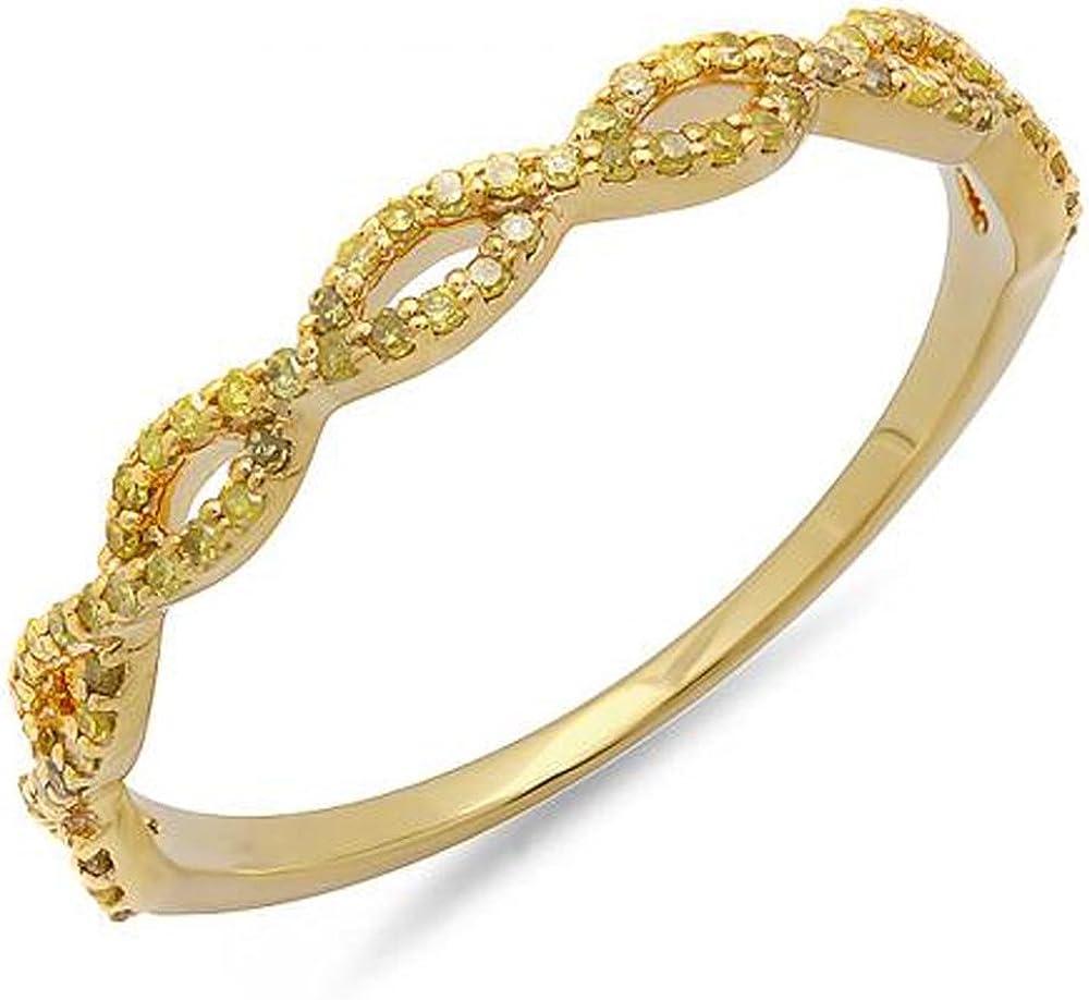 Dazzlingrock Collection 0.20 Carat (ctw) 10K Round Yellow Diamond Ladies Swirl Wedding Band Stackable Ring 1/5 CT, Yellow Gold