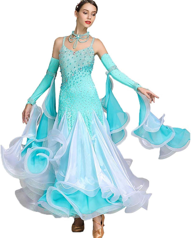 JRYYUE Modern Lady Velvet Dance Dress Big Pendulum Tango and Waltz Dancing Competition Skirt Rhinestones Costume