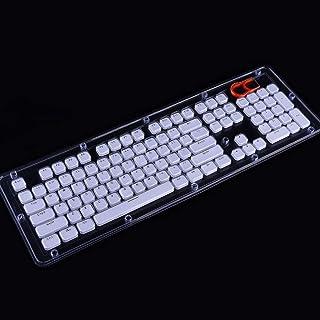 WINJEE, diseño de 104 Teclas Conjunto de Teclas de Perfil bajo para Teclado mecánico Diseño de Borde de Cristal retroiluminado Cherry MX con Extractor de Tapas Blancas