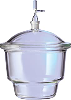Corning Pyrex Borosilicate Glass Small Top Desiccator with 24/29 Standard Taper Stopcock, 2.4L Capacity