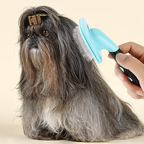 Glendan Dog Brush & Cat Brush- Slicker Pet Grooming Brush- Shedding Grooming Tools(Blue)