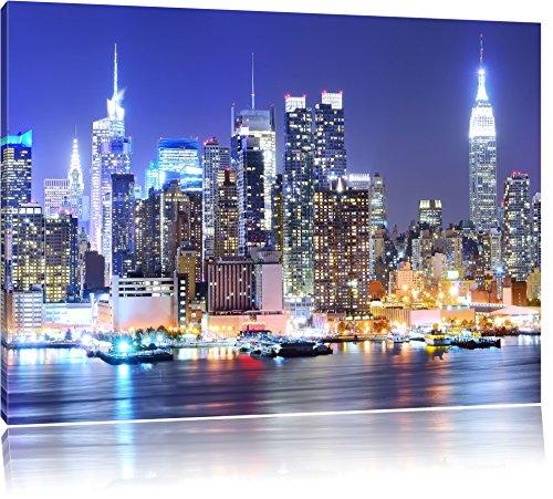 New York City Skyline Brücke bei Nacht Format: 120x80 cm auf Leinwand, XXL riesige Bilder fertig gerahmt mit Keilrahmen, Kunstdruck auf Wandbild mit Rahmen, günstiger als Gemälde oder Ölbild, kein Poster oder Plakat