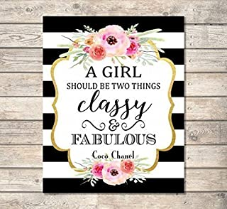 A Girl Should Be Two Things, Classy And Fabulous - Coco Chanel Quote Art Print, Inspirational Art Print, Typography Wall Art, Unframed Print, 8