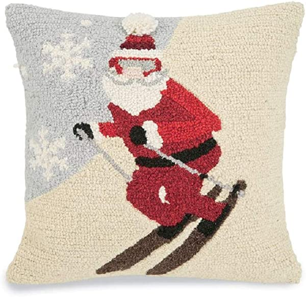Mud Pie Christmas Skiing Santa Hook Wool Throw Pillow