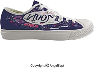 Durable Anti-Slip Sole Washable Canvas Shoes 13.77inch Harvest Season with Sky Clouds Earth Shooting Stars Wish Together Print Decorative,Purple White Pink Flexible and Soft Nice Gift