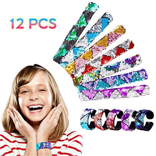 VCOSTORE Meerjungfrau Armbänder 2-farbig Reversible Pailletten Slap Armbänder für Kinder Geschenke Mädchen Party