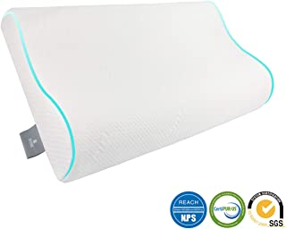 MINEHOME Memory Foam Pillow, Back Pain Relief Bed Pillows for Sleeping Contour Orthopedic Neck Cervical Support Pillows for Back Side Sleepers with Breathable Hypoallergenic Pillowcase,Standard Size
