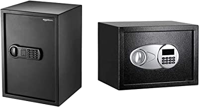 AmazonBasics Home Keypad Safe - 1.8 Cubic Feet, 13.8 x 13 x 19.7 Inches, Black - 50SAM & Steel, Security Safe Lock Box, Black - 0.5 Cubic Feet