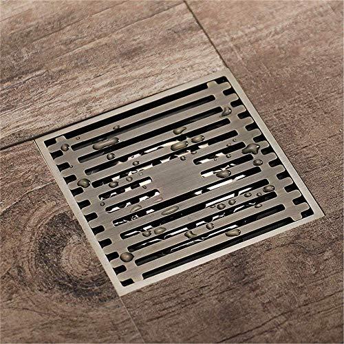Bodenablauf Messing Quadrat 10x10cm Küche Toilette Anti-Geruchsabläufe Badezimmer Dusche Haar-Sieb, GreenBronze