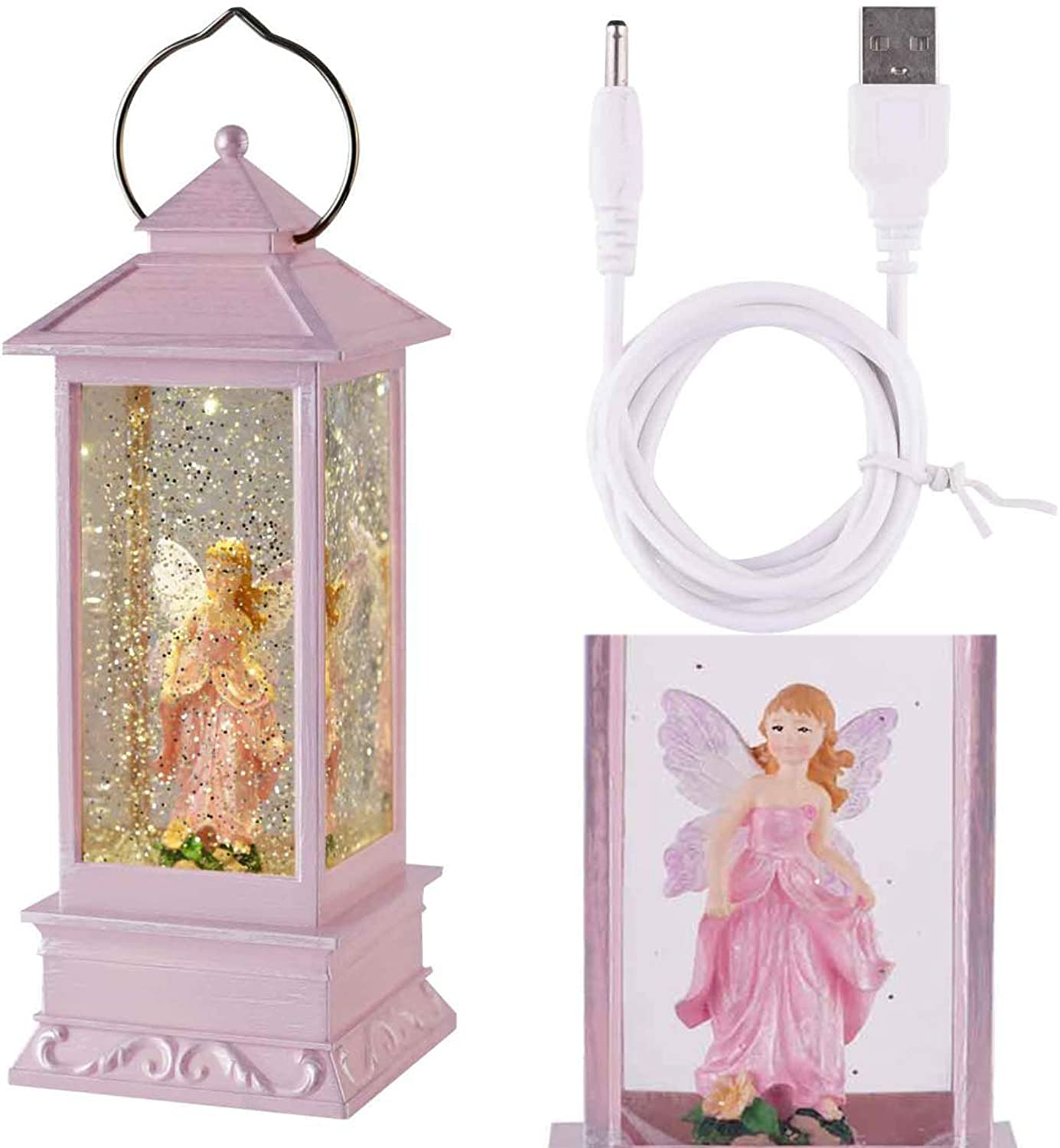 Snow Globe Lantern, Angel Snow Globe with Water Glittering Swirling Battery Operated-USB Cord Powered for Valentine's Day, Birthday, Home Party Decoration