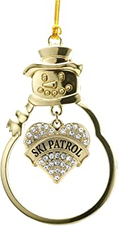 Inspired Silver - Ski Patrol Charm Ornament - Gold Pave Heart Charm Snowman Ornament with Cubic Zirconia Jewelry