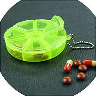 7 Days Weekly Pill Box Dispenser Round Tablet Pill Holder Dispenser Solitters Box for Travelling Organizer Container,White
