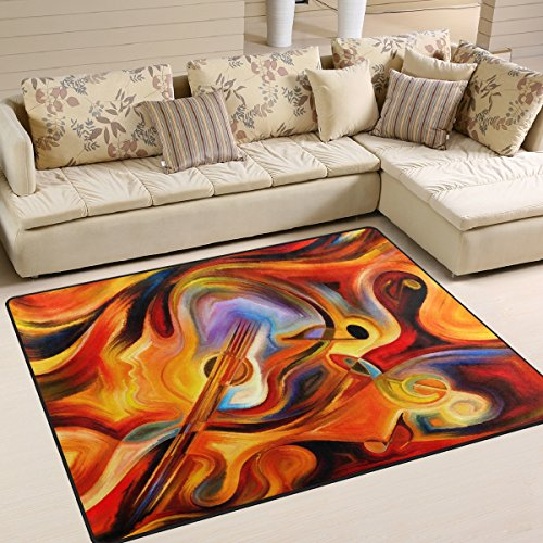 ALAZA Abstract Watercolor Guitar Music Note Area Rug Rugs for Living Room Bedroom 7' x 5'