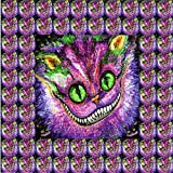 Cheshire Cat Alice in Wonderland Design Psychedelic Blotter Art Print Perforated Sheet, Acid Free LSD Art Paper 30x30, 900 tabs, 7.5 inch, in Clear Protective Sleeve