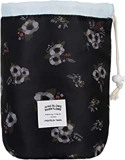Jelord Quick Makeup Bag Large Capacity Drawstring Cosmetic Bags Waterproof Toiletry Magic Pouch for Women Girls Quick Pack Portable Zipper Travel Cosmetic Organizer (Black flower Pouch)