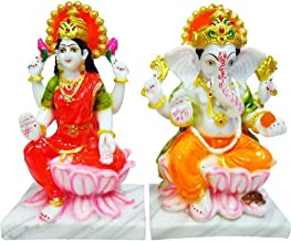 Marble Lord Laxmi Ganesha Statue Goddess Laxmi & God Ganesh/Ganpati Idol Handicraft Spiritual Puja Vastu Showpiece Figurin...