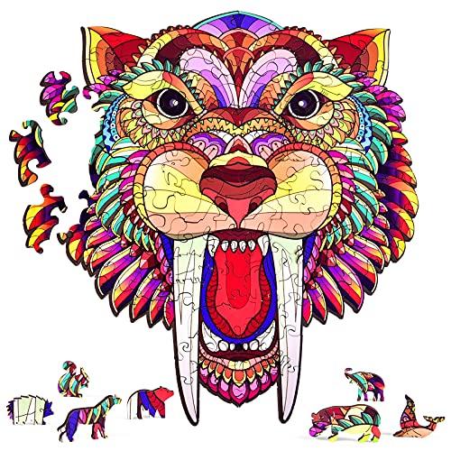 AMGELEMM Rompecabezas de Madera, Puzzle de Madera Piezas Animales 3D para Adultos y Niños, Rompecabezas de Formas únicas, Puzzles Animal Madera, Colección de Juegos Familiares Regalo