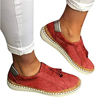 TnaIolral Ladies Summer Shoes Fashion Flats Tassel Round Toe Casual Non-Slip Breathable Sneakers