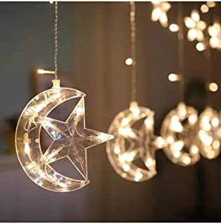 Colorful Moon star string light 250cm length with plug in fairy lights for party Ramadan birthday home decor