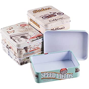 BENECREAT 6 Pack Caja Portátil de Metal Bote Rectángula de Hojalata con Tema de Viaje Contenedor Pequeña de Almacenamiento de Caramelos, Monedas, Agujas, Pastillas: Amazon.es: Hogar