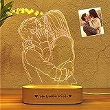 Foto personalizada Lámpara 3D Grabado de fotos Texto personalizado Lámpara LED 3D Luz nocturna con su propia imagen y texto Para niños Navidad Boda Cumpleaños Los mejores regalos (Foto de una persona)