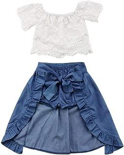 V-A-O-L Conjunto de 3 Piezas de Playera con Hombros Descubiertos y Pantalones Cortos de Mezclilla + Faldas de Princesa con Volantes