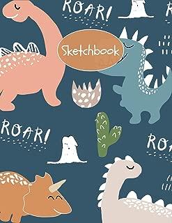 Sketchbook: Cute Jurassic Dinosaur T-Rex Sketchbook for Kids  ~ Boys & Girls Large Sketchbook for Doodling, Drawing, Sketching & Writing