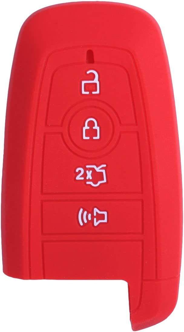 XUHANG Sillicone key fob Skin key Cover Remote Case Protector Shell for 2017 2018 2019 2020 Fusion Smart Remote red