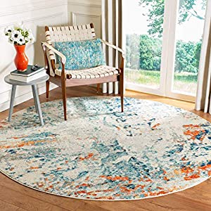 Safavieh Madison Collection MAD478B Modern Abstract Non-Shedding Stain Resistant Living Room Bedroom Area Rug, 9′ x 9′ Round, Cream / Orange