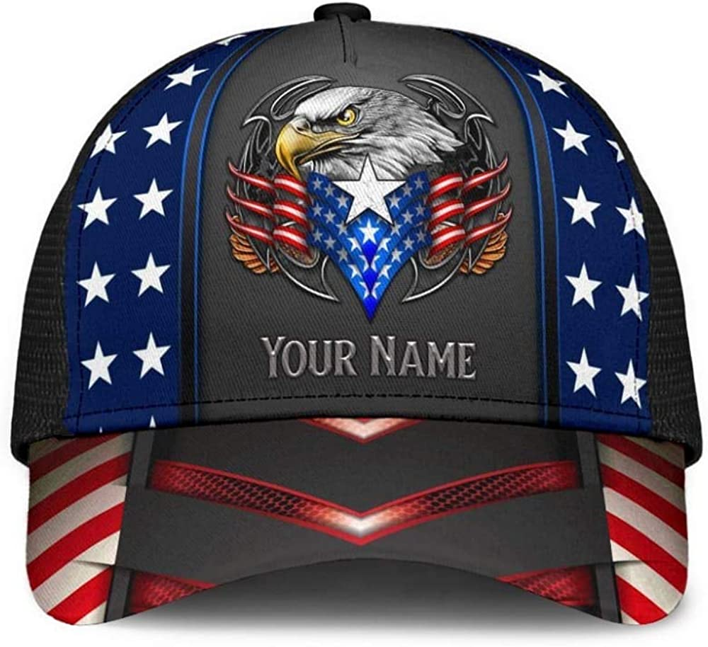 Personalized Name Eagle Proud American Mesh Back Cap 3D Printed Unisex Classic Cap, Snapback Cap, Baseball Cap, Cap-Black-One-Size for Men, Women, Sports, Outdoor, Gift for Expecting Parent