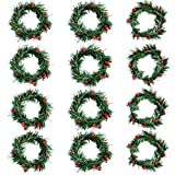 Shiny Flower 12 Pcs Christmas Candle Rings Wreath Mini Christmas Wreath with Red Artificial Berry Christmas Pine Wreath Candle Holder Rings for Christmas Holiday Table Decorations (3 inch)