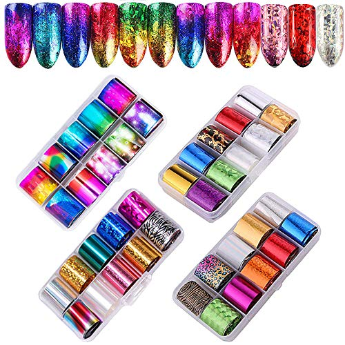 Ebanku 40 Farbe Nagelfolien Transferfolie Nägel Aufkleber, Nailart Folie Transfer Nail Art Fittings Nagel Sticker Zauberfolie Glänzende Deko DIY Nagelschmuck Design