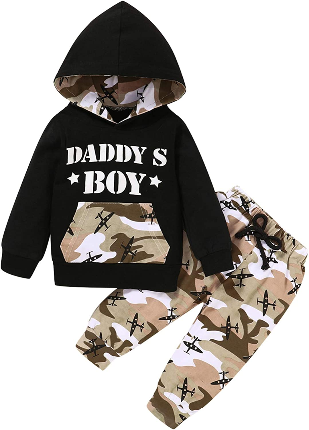 Shalofer Baby Boy Camouflage Hoodies Toddler Funny Letter Print Outfits