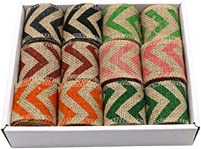 12pcs Burlap Color Fabric Ribbon Roll for Arts & Crafts Homemade DIY Projects,C