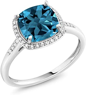 10K White Gold London Blue Topaz and Diamond Women's Halo Engagement Ring (2.50 Cttw 8MM Cushion Cut Available 5,6,7,8,9)