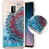 Funda Compatible con Samsung Galaxy A8 2018.Funda Carcasa Transparente Brillo Glitter Brillantes Purpurina Liquida Arenas TPU Silicona Suave Dibujos Diseño Protectora Completo Cubierta,Media Flor