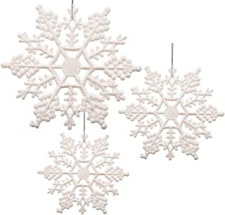 BANBERRY DESIGNS White Glittered Snowflakes - Pack of 84 Plastic Snowflakes Covered in White Glitter - Assorted Sized of Small, Medium and Large Hanging Snow Flakes - Christmas Snowflakes
